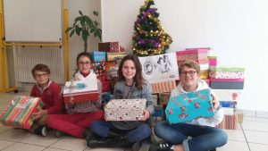 Decorated Christmas shoe boxes at Sainte-Anne